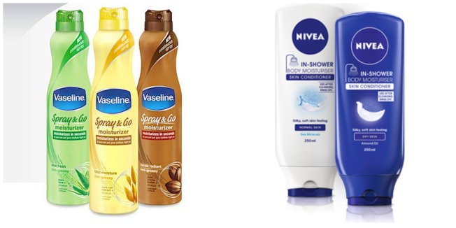 Nivea In-Shower moisturiser vs. Vaseline Spray and Go