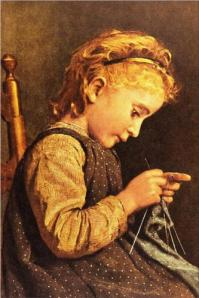 Little Girl Knitting by Albert Anker Image: WikiPaintings