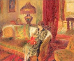 The Artist's Wife Knitting by William James Glackens Image: WikiPaintings