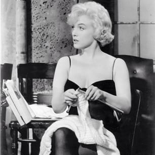 I'm not sure anyone can top Marilyn in the glamorous knitting stakes.